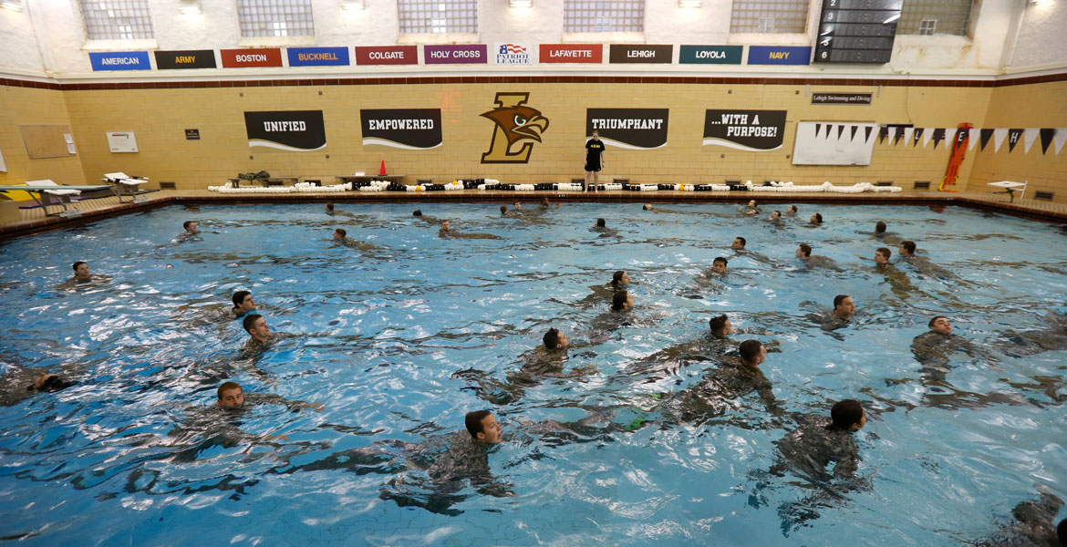 ROTC treading water in swimming pool
