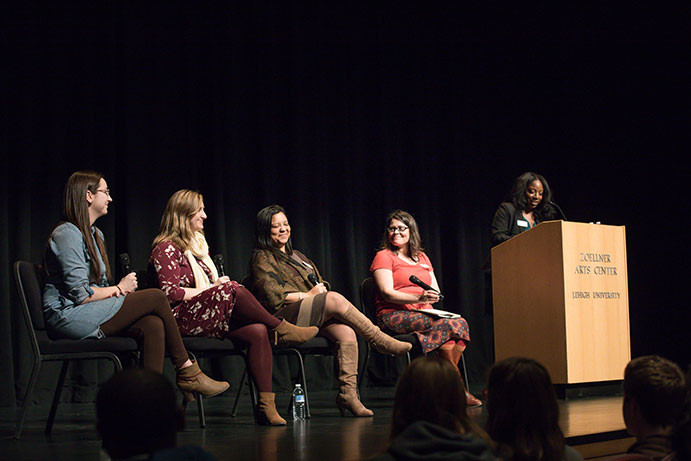 Five women on stage