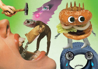 Silly cartoonish illustrations including hamburger man