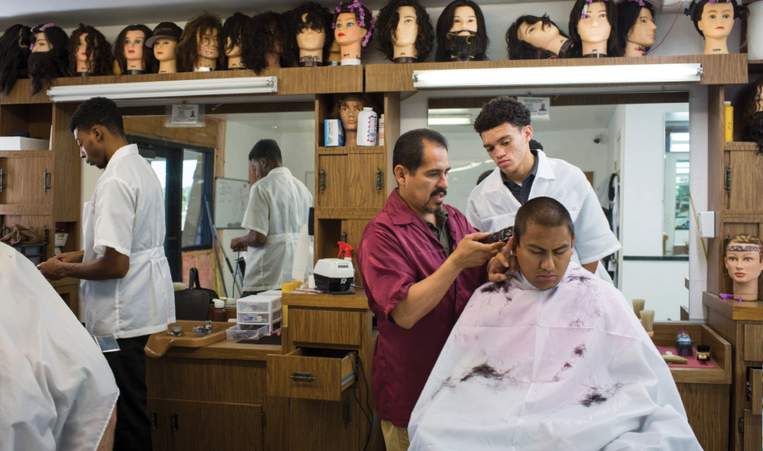 Barbershop with many heads