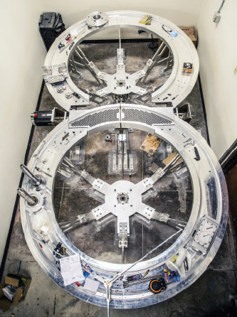The Rotating Wheel Rayleigh Taylor Instability Experiment, a device Banerjee and his team built to mimic the conditions of inertial confinement.