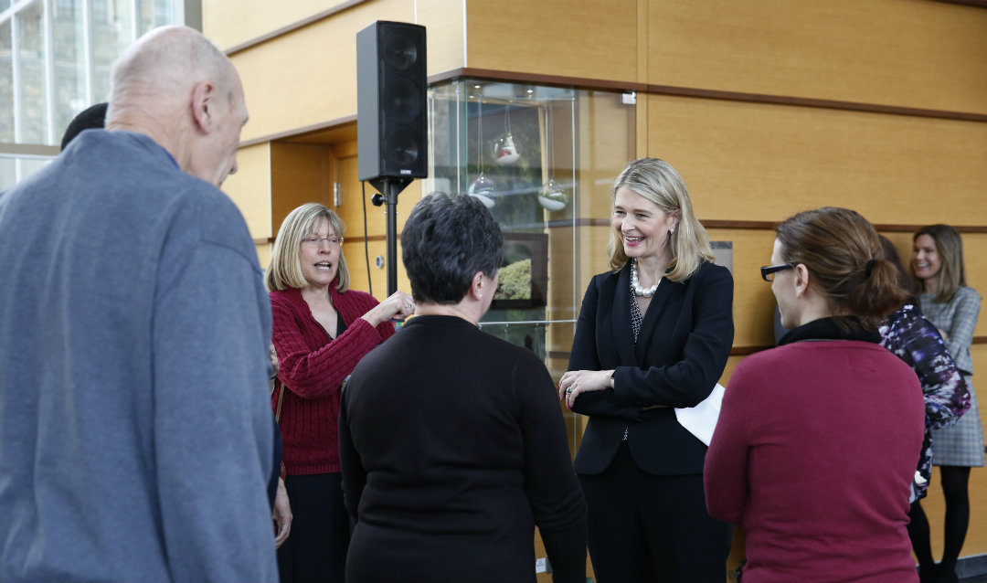 Dean Whitney P. Witt greets members of the Lehigh community