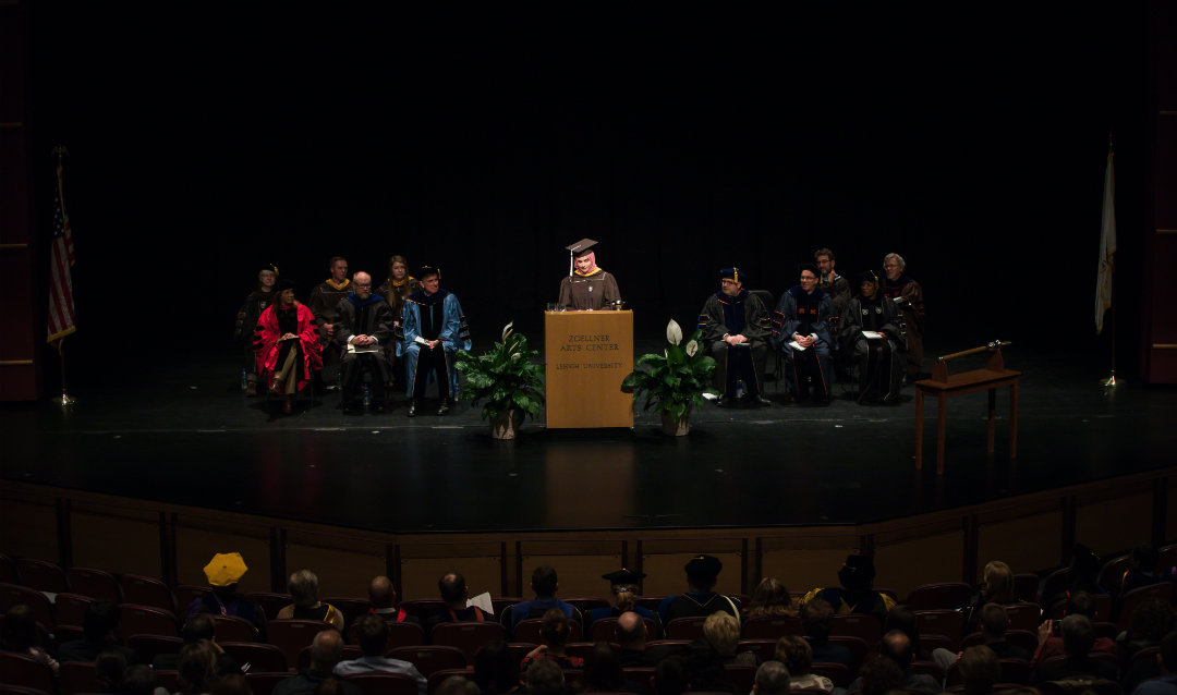 Maryam Athar Khan speaks at Lehigh University's Honors Convocation