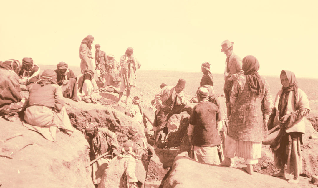 Old photograph of Middle Eastern archaeological dig