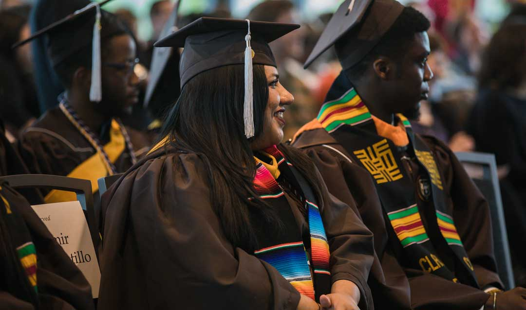 Students at Lehigh University's Donning of the Kente