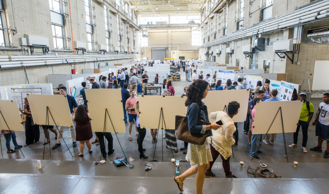 People gather at Lehigh University Summer Project Expo at Mountaintop in 2018018