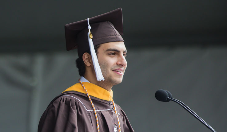 Senior Class President Giovanni Zlaket speaks at Lehigh University commencement