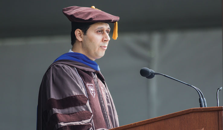 Mohammad Shahabsafa speaks at Lehigh University commencement