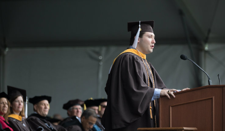 Michael Mauriello speaks at Lehigh University commencement