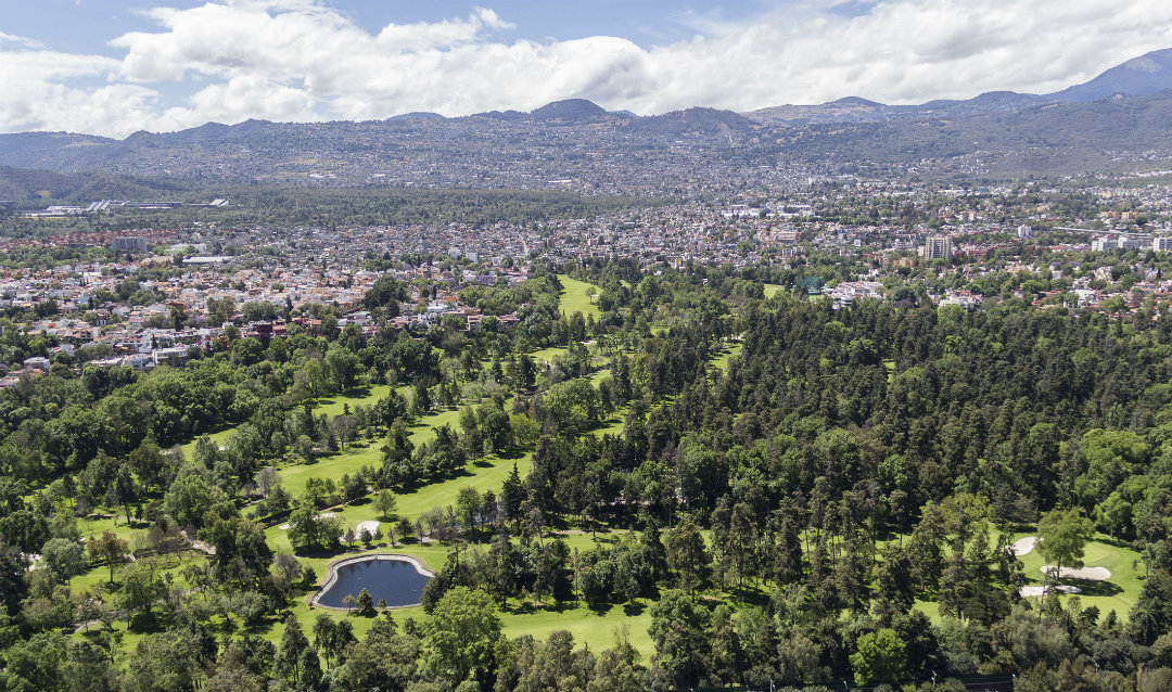 Aerial view of the green of a golf club in Tlalpan, Mexico City.