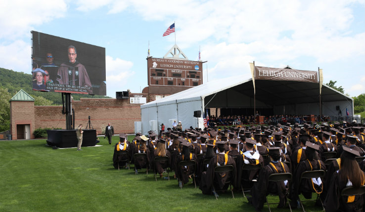 Richard Verma on large screen during Lehigh University commencement address