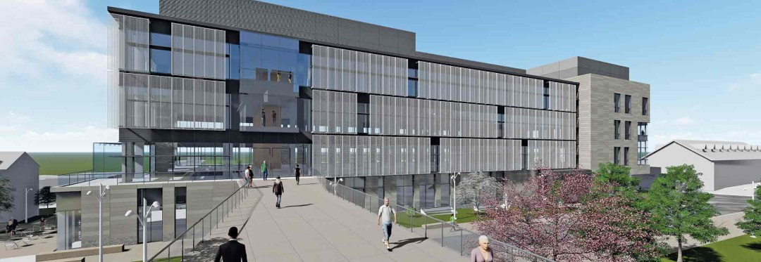 Rendering of Lehigh University's new health, science and technology building
