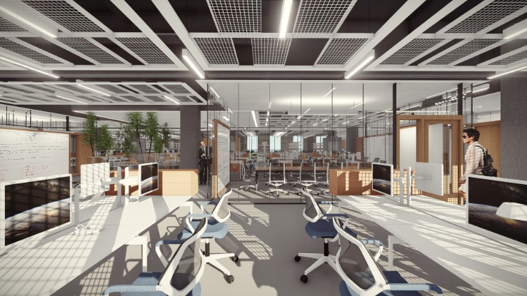 Rendering of interior of Lehigh University's health, science and technology building