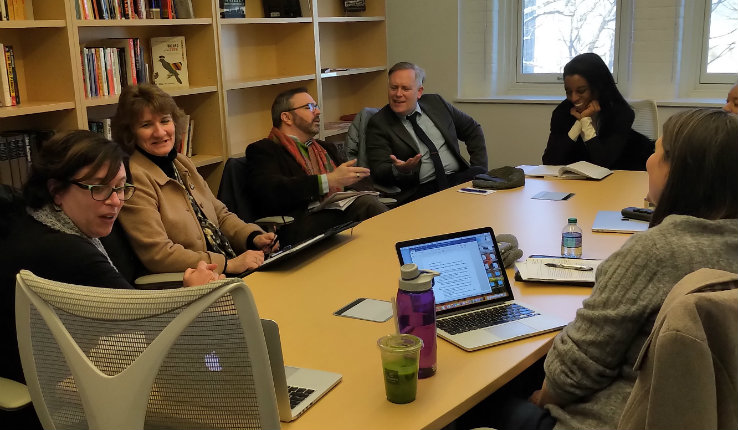 Gloria Naylor archive project team sits around table at Lehigh University