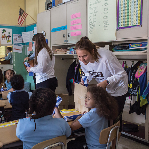 Lehigh students in elementary classroom