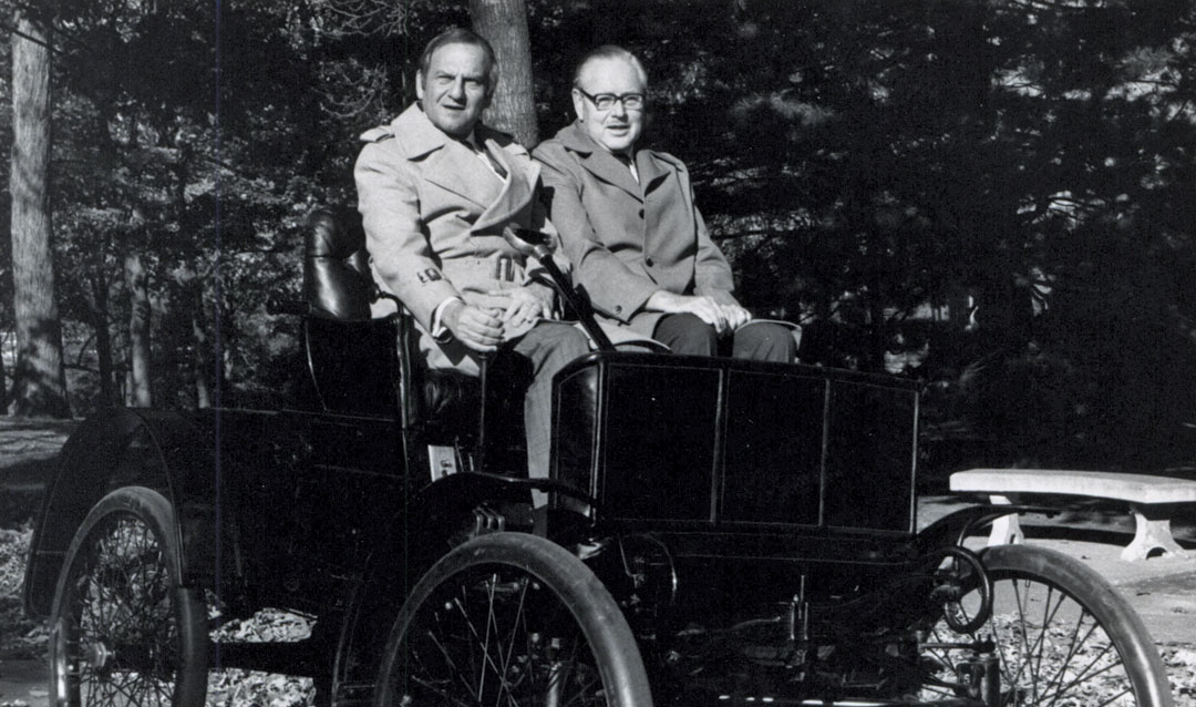 Lee Iacocca and Deming Lewis in Packard car on Lehigh University campus