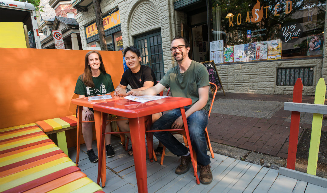 A new Parklet pops up outside the Roasted restaurant
