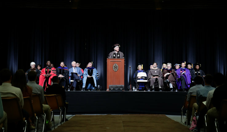 Lehigh University administrators and faculty on stage during 2019 academic convocation