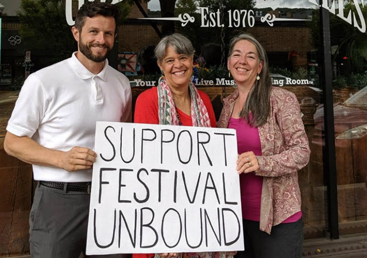 Lehigh Assistant General Counsel Alex Radus pictured with festival organizer Anne Hills and Ramona LaBarre, managing director of Godfrey Daniels.