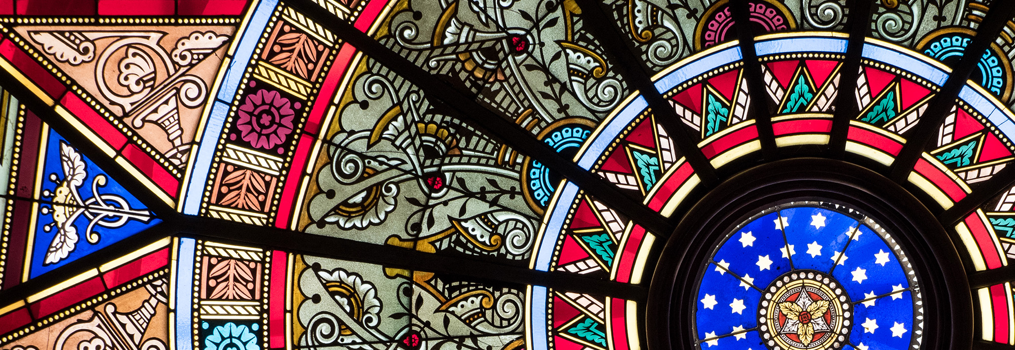 Colorful stain glass window.