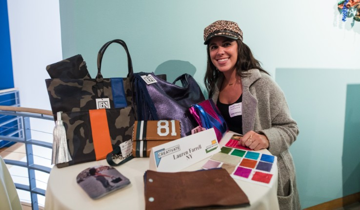 Lauren Farrell with handbags at Lehigh University CREATIVATE