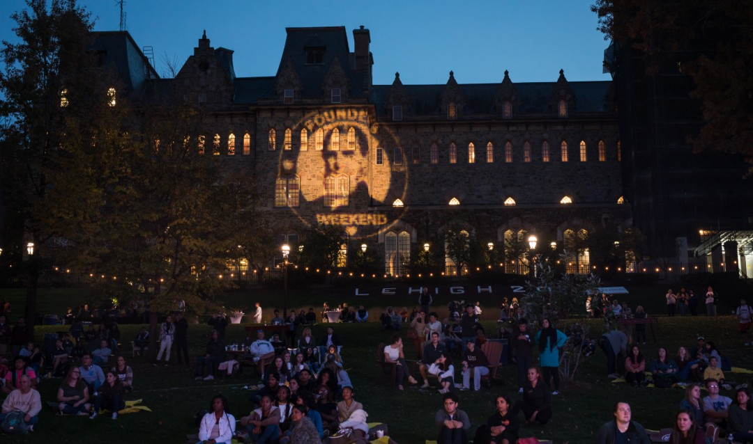 Lehigh's University Center lit up at night at Brown & White BBQ.