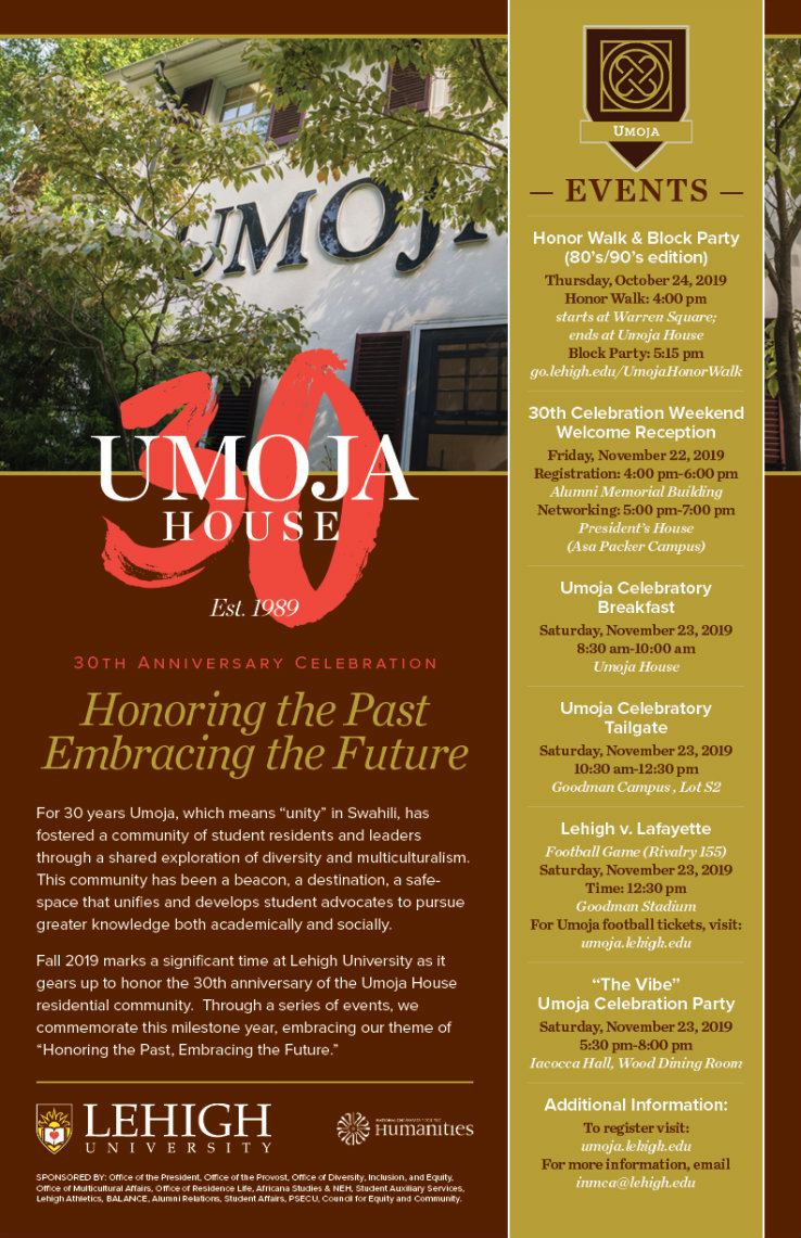 A poster detailing events for the 30th anniversary of the UMOJA House