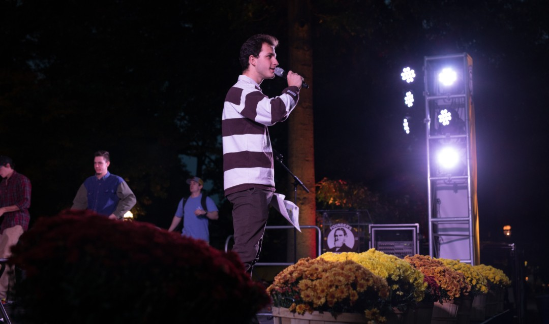 Student emcee at Lehigh University Brown & White BBQ.