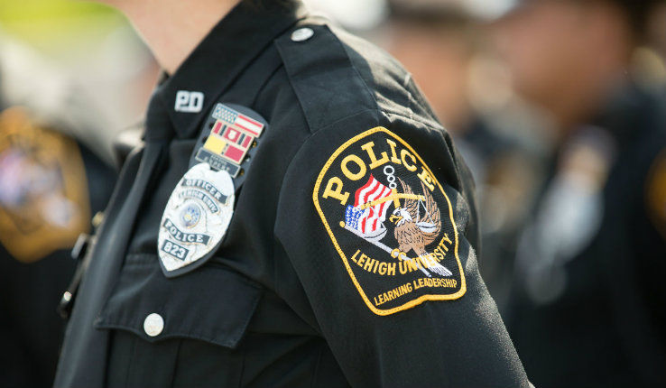 Image of sleeve of Lehigh University Police Department officer in uniform