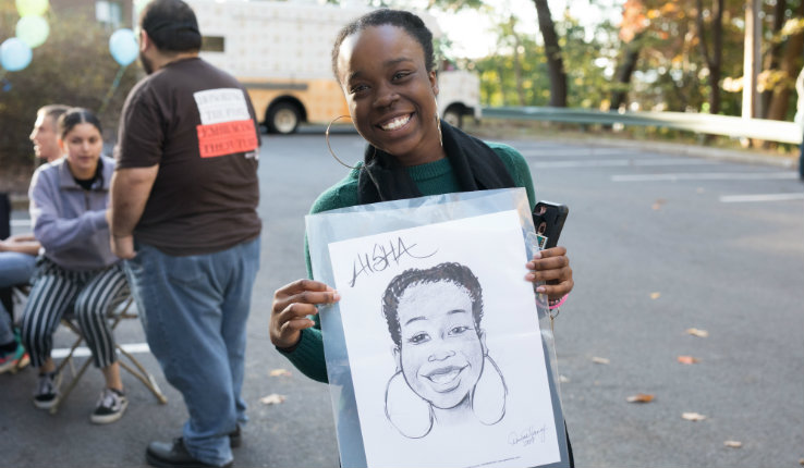 caricatures at block party