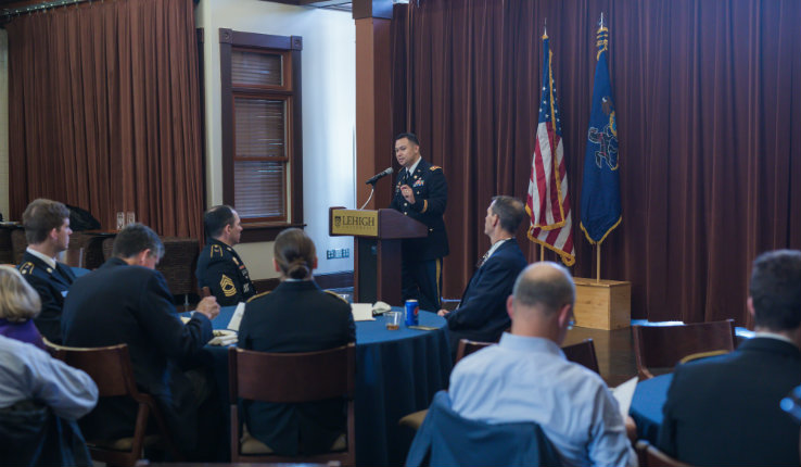 Major John Abella, professor of military science at Lehigh, at Veterans Day luncheon