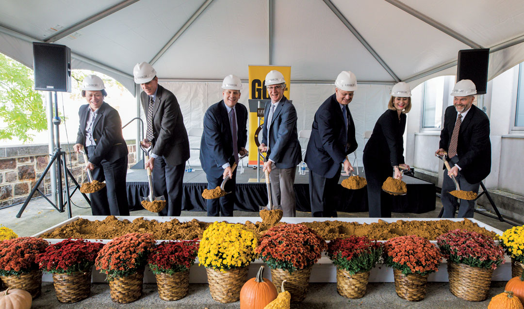 Lehigh faculty ceremonially break ground on the new Health, Science and Technology building.