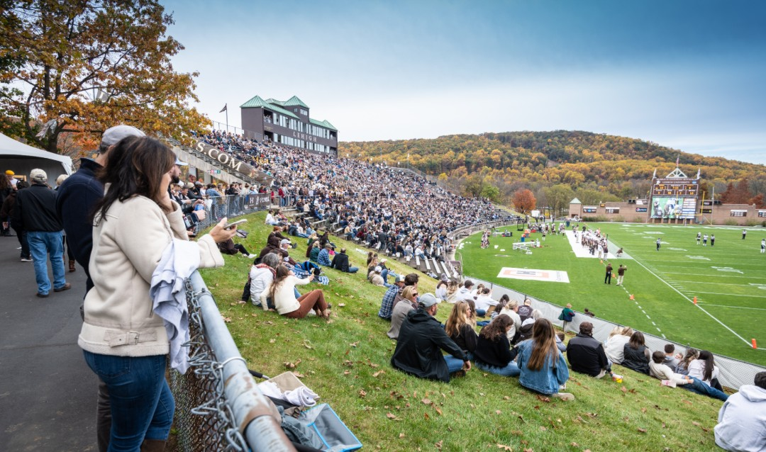 Crowd at football game during Lehigh University Founder's Weekend