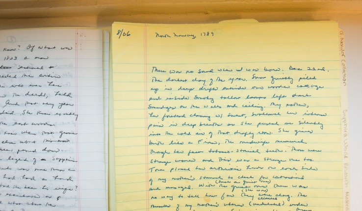Handwritten manuscript on yellow paper of Sapphira Wade, an unfinished novel by Gloria Naylor