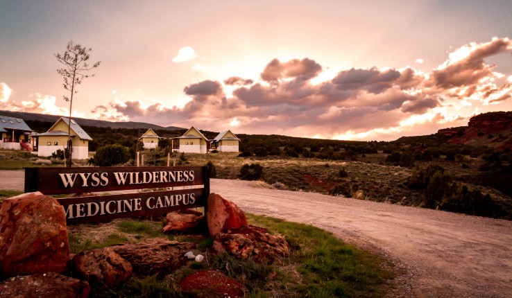 Sunset at the entrance to Wyss Wilderness Medical Campus in Wyoming.