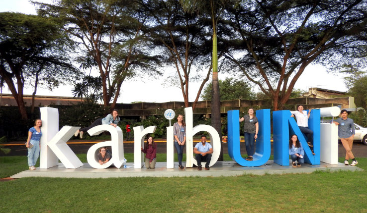 Lehigh students posing at UN offices in Nairobi, Kenya.