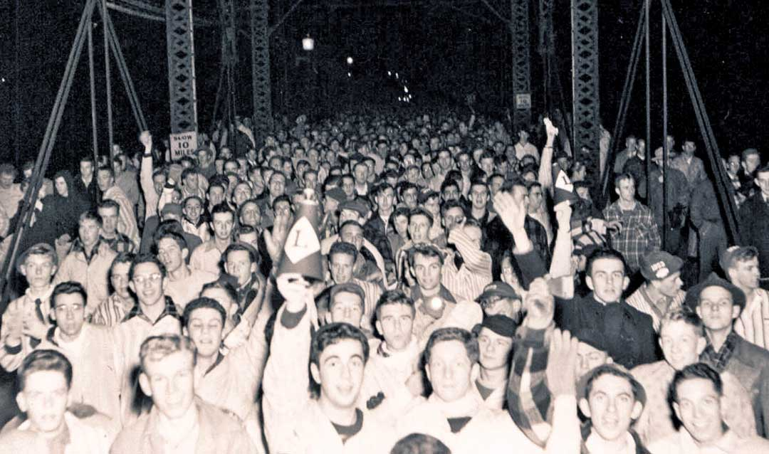 Pajama parade across the New Street Bridge in Bethlehem, circa 1949