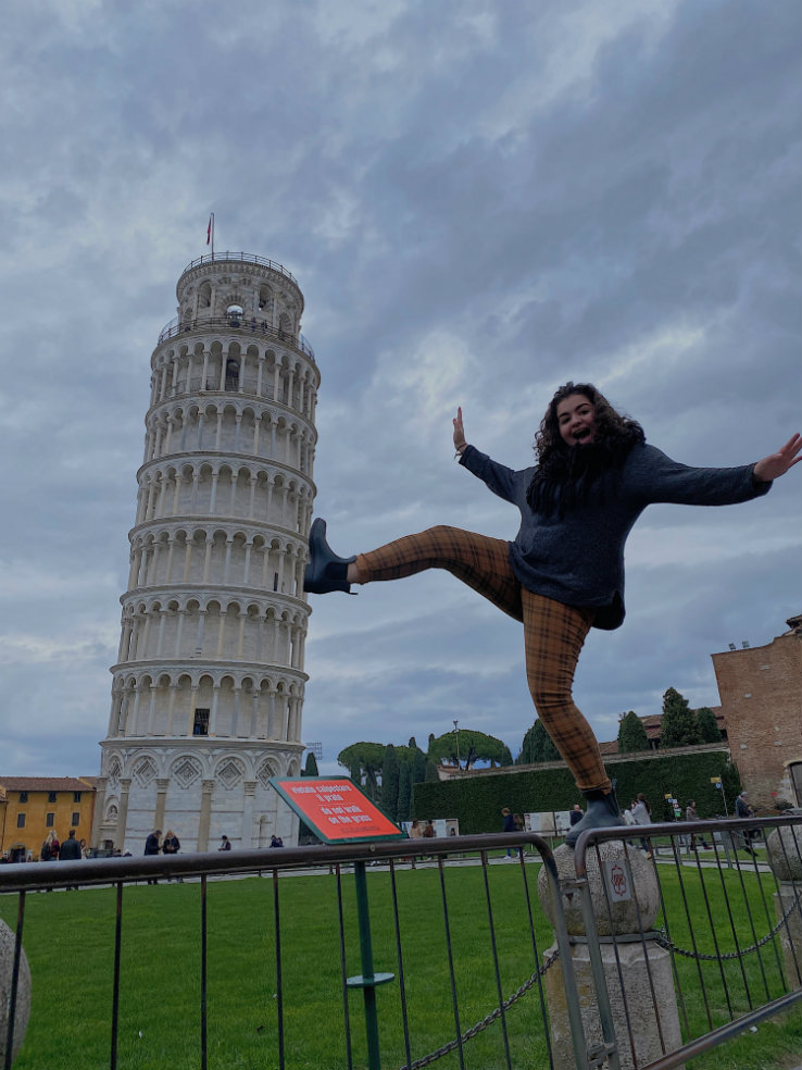 Natalie Maroun at the Leaning Tower of Pisa