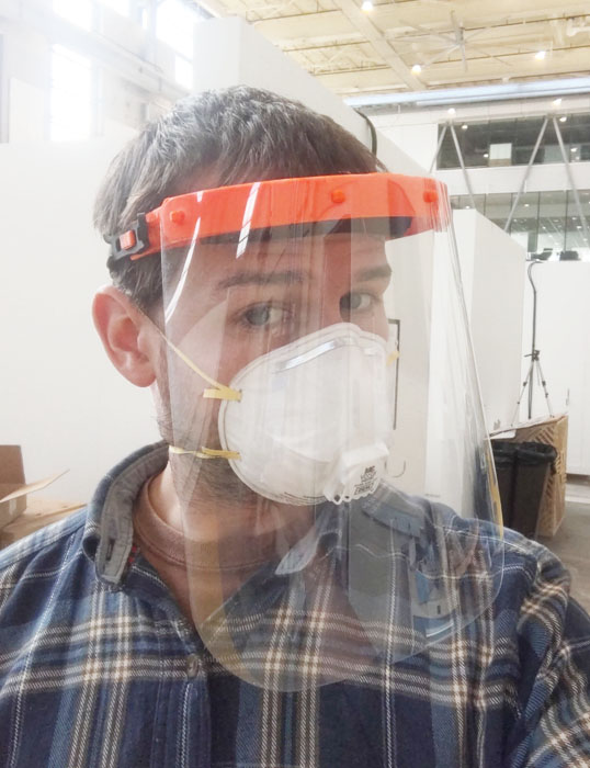 Donning a 3D printed face shield