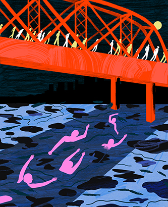 Illustration of red bridge over water with figures walking on bridge and swimming underneath