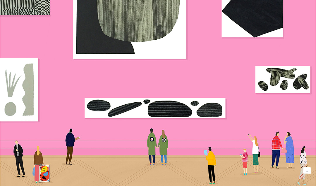 An illustration of people looking at art displayed on a pink museum wall.