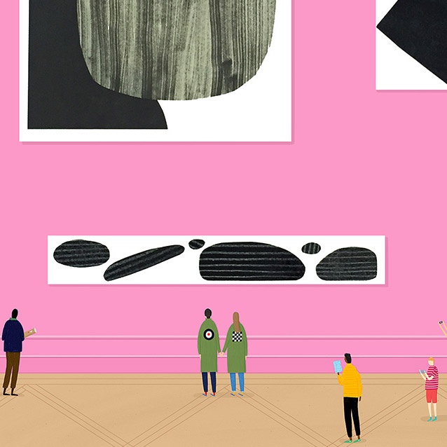 An illustration of people looking at art displayed on a pink museum wall