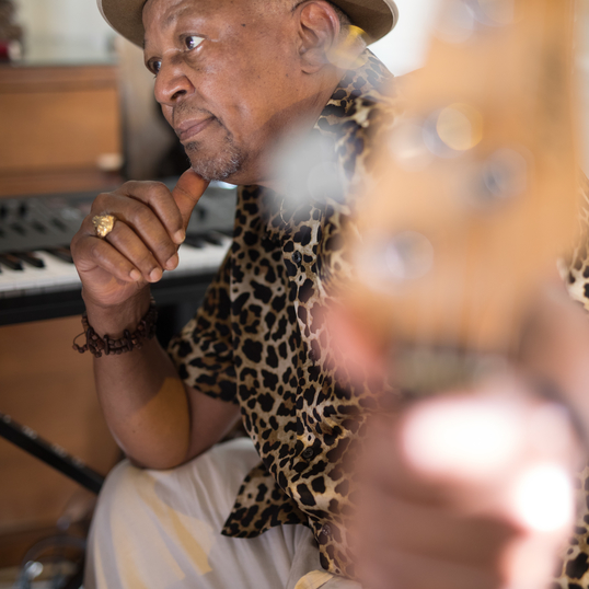 Kumalo in his studio at his home in Bethlehem