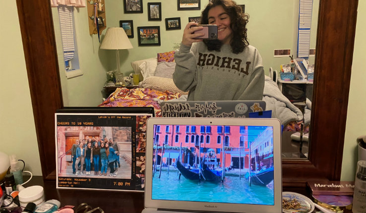 Natalie Maroun posing at home in a Lehigh sweatshirt
