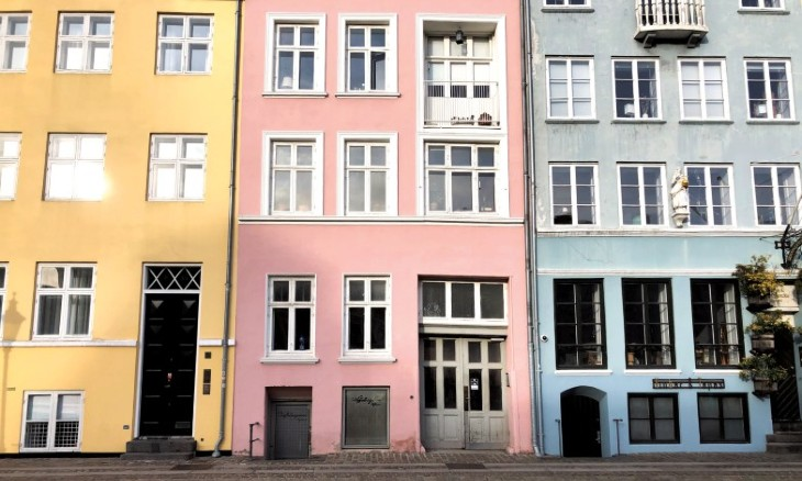 Bright colored houses in Nyhavn, a district in Copenhagen