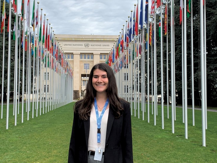 Samantha Margolis in front of the United Nations in Geneva