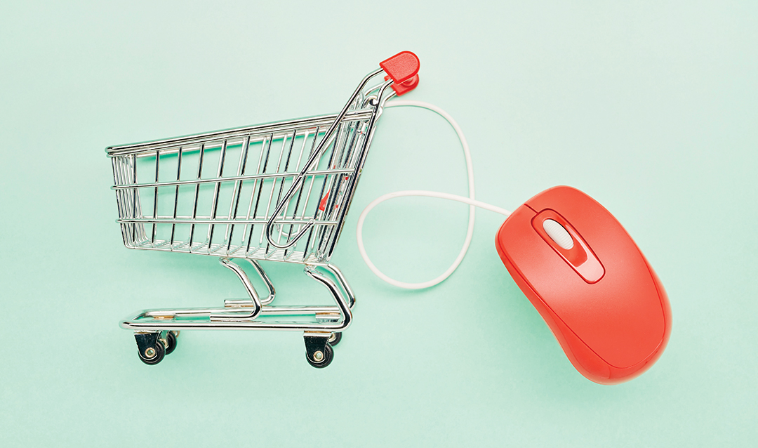 illustration of an app attached to a shopping cart