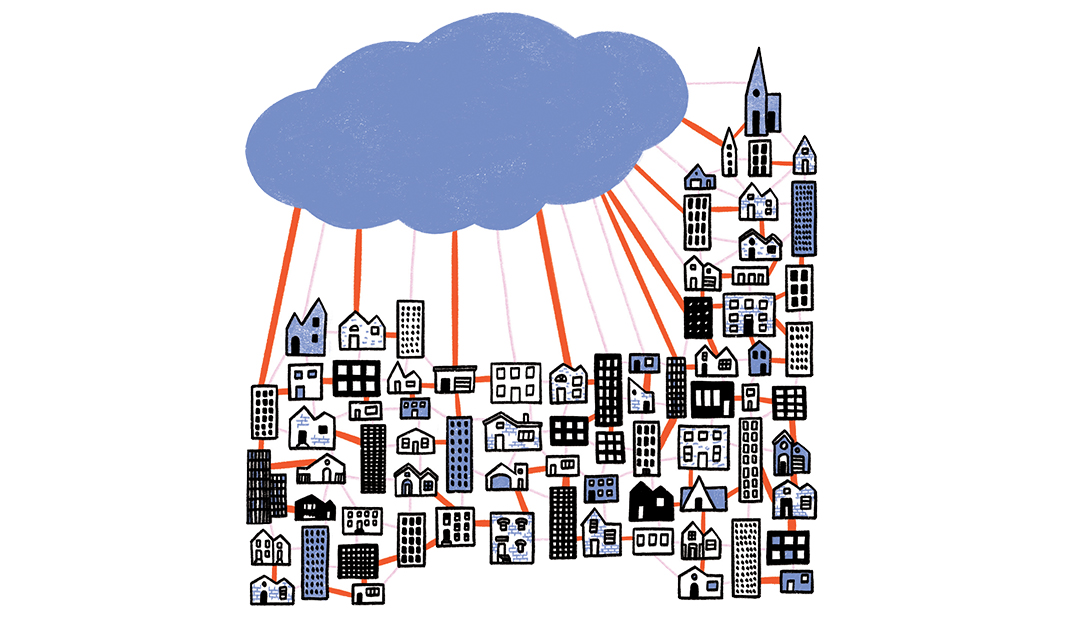 Illustration of the icloud into buildings