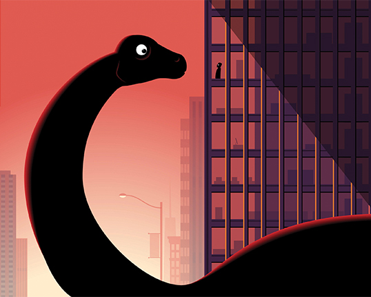 Illustration of dinosaur looking at office building