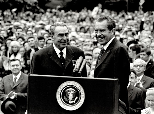 Soviet leader Leonid Brezhnev and U.S. President Richard Nixon